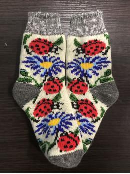 Ангорові жіночі носки з ромашкою та сонечком на білому
