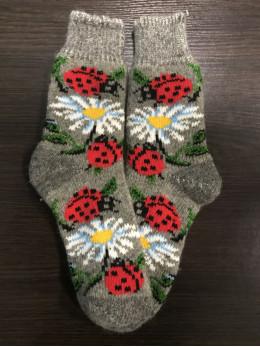 Ангорові жіночі носки з ромашкою та сонечком на сірому
