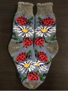 Ангорові жіночі носки з ромашкою та сонечком на синьому