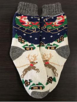 Ангорові жіночі носки дід мороз з санами