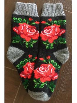 Ангорові жіночі носки з розою червоною на чорному