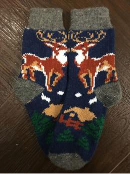 Ангорові жіночі носки олень хатка на синьому