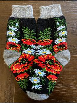 Ангорові жіночі носки з маком та ромашкою на чорному