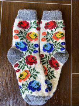 Ангорові жіночі носки з розою віночок кольоровою новою