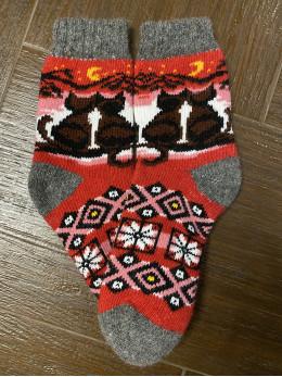 Ангорові жіночі носки з снігурем на синьому